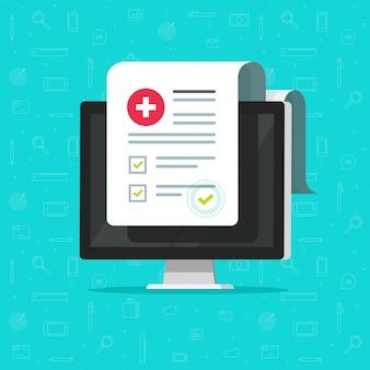 Lista de formularios médicos y de computadora con datos de resultados y marca de verificación aprobada o documento de lista de verificación clínica electrónica con casilla de verificación