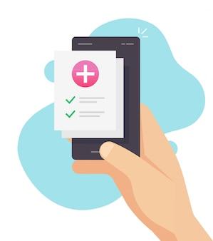 Lista en línea del formulario de prescripción médica con resultados de salud