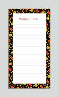 Lista de mercado. linternas chinas, monedas de oro, sobres rojos y fuegos artificiales. diseño de lista de verificación del bloc de notas