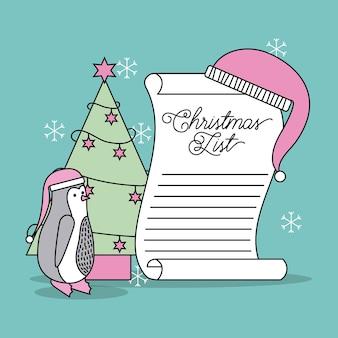 Lista de navidad celebración de árbol y sombrero de pingüino