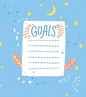 Lista de objetivos, plantilla en blanco, estilo dibujado a mano. una hoja de papel con lindas estrellas dibujadas a mano y decoraciones de luna, página de diario.
