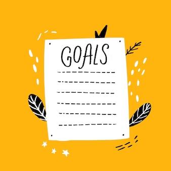 Lista de objetivos plantilla en blanco estilo dibujado a mano página de resoluciones de año nuevo con página de diario de marcas