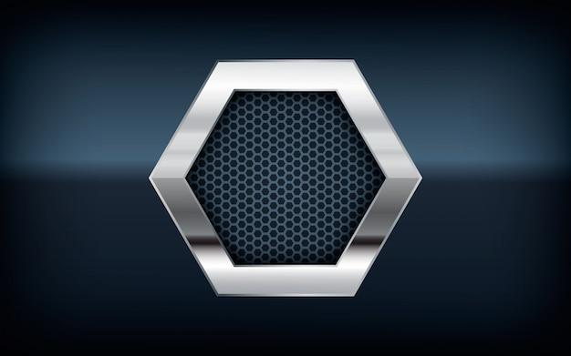 Lista de plata hexagonal 3d sobre fondo negro
