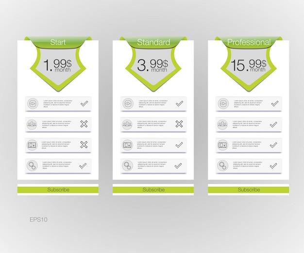 Lista de precios. banners de tres tarifas. tabla de precios web. para la aplicación web