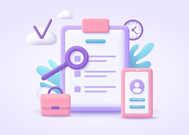 Lista de reglas, orientación de lectura, ilustración 3d de lista de verificación.
