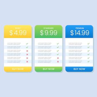 Lista de tabla de precios colorida simple para el sitio web