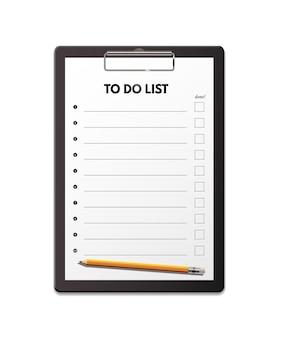 Lista de tareas adjuntando a la ilustración del portapapeles página de documento de papel con casillas de verificación en blanco y lápiz gráfico realista
