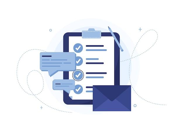 Lista de tareas con carta, mensajes y cuestionario. portapapeles azul