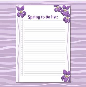 Lista de tareas para imprimir plantilla.