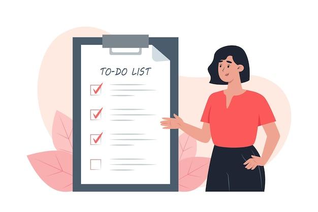 Lista de tareas pendientes, mujer joven pone marcas de verificación delante de las tareas completadas