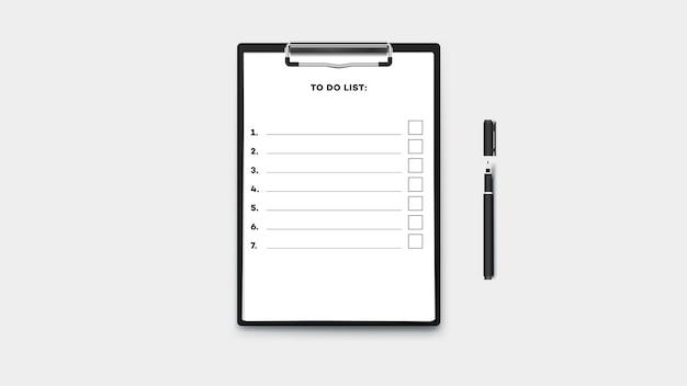Lista de tareas vacías en el portapapeles con pila de papel a4. aislado en la plantilla de fondo tansparent.