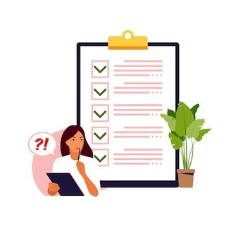 Lista de verificación, concepto de lista de tareas pendientes. idea de negocio, planificación o pausa para el café. ilustración vectorial estilo plano.