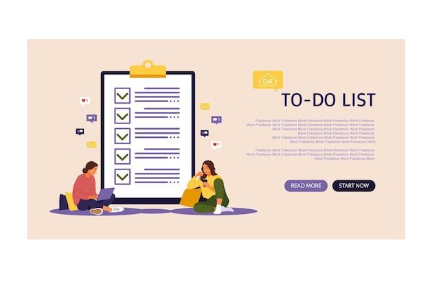 Lista de verificación, ilustración de vector de lista de tareas pendientes. página de destino. concepto de lista o bloc de notas. idea de negocio, planificación o pausa para el café. ilustración vectorial estilo plano.