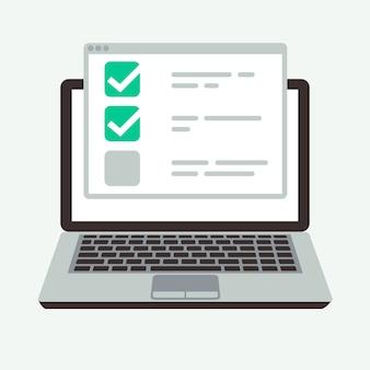 Lista de verificación en línea en la pantalla del portátil.