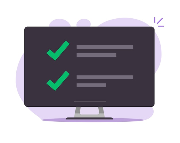Lista de verificación con lista de marcas de verificación en línea en la ilustración de dibujos animados plana de la pantalla de la computadora
