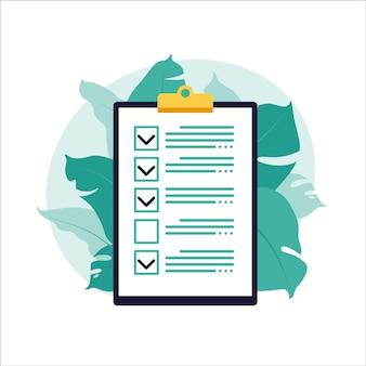 Lista de verificación, lista de tareas pendientes. concepto de lista o bloc de notas. idea de negocio, planificación o pausa para el café. ilustración vectorial. estilo plano.