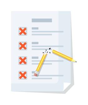 Lista de verificación con marca de cruz, lápiz roto aislado en blanco