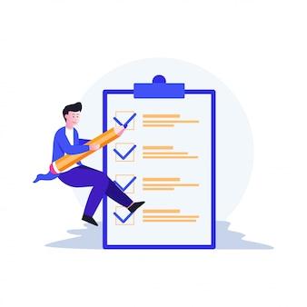Lista de verificación y marca de documentos ilustración