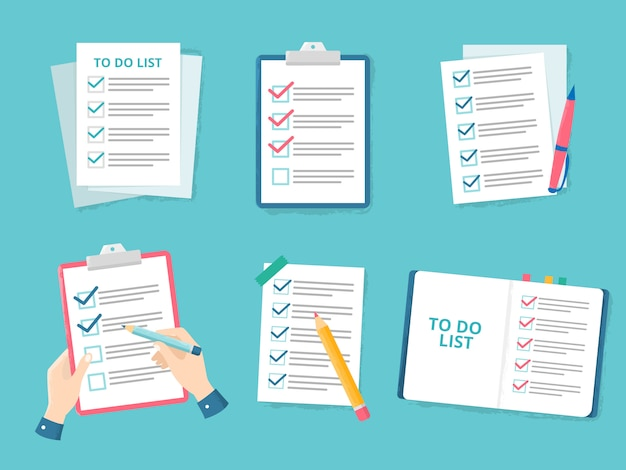 Lista de verificación de negocios. comprobaciones de lista de prioridad, lista de marca de verificación y papel de verificación para hacer listas de verificación conjunto de ilustración plana