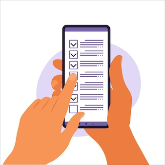 Lista de verificación en la pantalla del teléfono inteligente. concepto de encuesta en línea. la mano sostiene el teléfono móvil y la lista de verificación con marca de verificación. ilustración vectorial. departamento