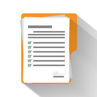 Lista de verificación de papel en la carpeta amarilla