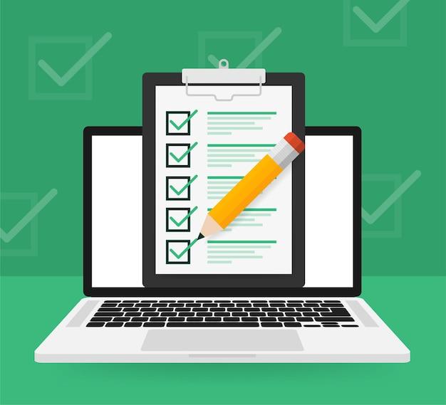 Lista de verificación portátil en verde Vector Premium