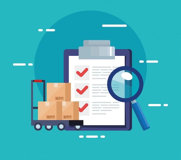 Lista de verificación del servicio logístico de entrega e íconos