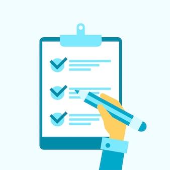 Lista de verificación tarea ilustración plana