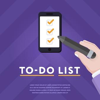 Lista de verificación en teléfono inteligente con garrapatas