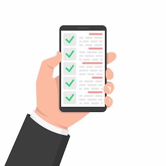 Lista de verificación verde smartphone. encuesta ilustración vectorial. garrapata verde lista de verificación plana smartphone para diseño web. servicio al cliente