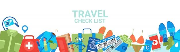 Lista de verificación de viaje banner horizontal. concepto de planificación de embalaje