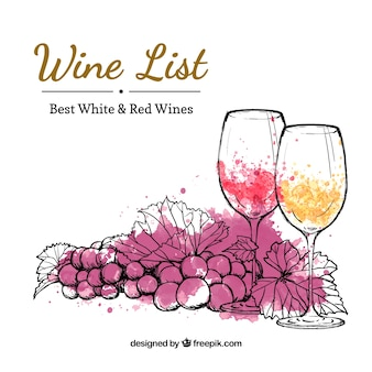 Lista de vinos dibujada a mano