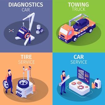 Listado de servicios en garaje de autos conjunto de tarjetas isométricas.