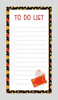 Listas de tareas con plantilla de vector plano de ratoncito