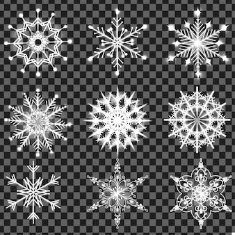 Listo para el diseño con brillantes copos de nieve
