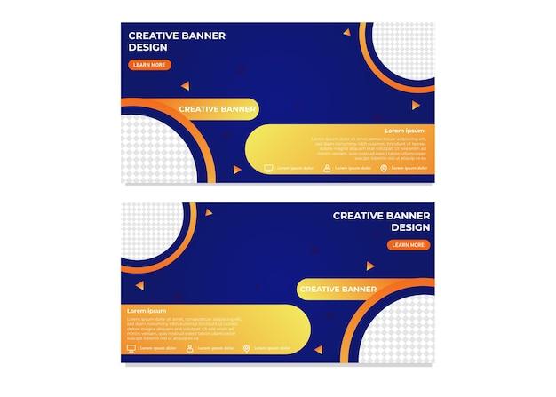 Listo para usar plantilla de banner de negocio creativo degradado moderno