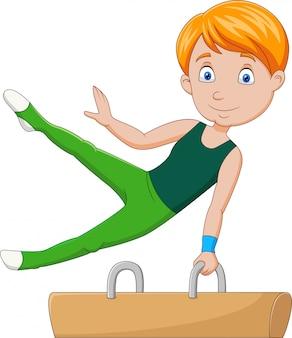 Little boy gimnasta haciendo un pomo de caballo