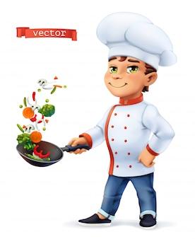 Little cook personaje cómico, ilustración