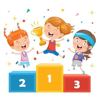 Little kids celebrating championship win
