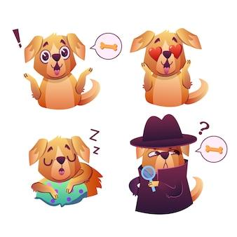 Little pet pug dog puppy con collar colección de emoji expresiones faciales