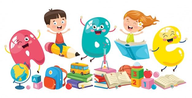 Little school children learning