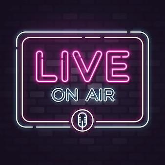 Live on air letrero de neón