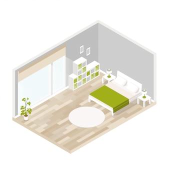 Living interior para salón en isometrico.