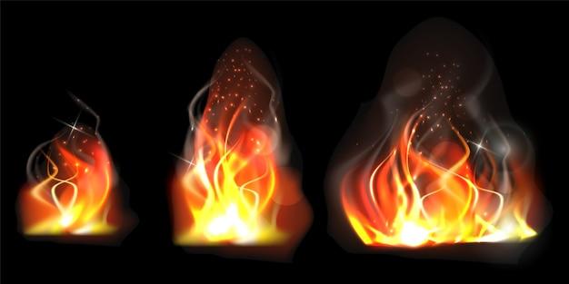 Llama ardiente realista de diferentes tamaños.