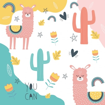 Llama cartoon diseño vector illustration