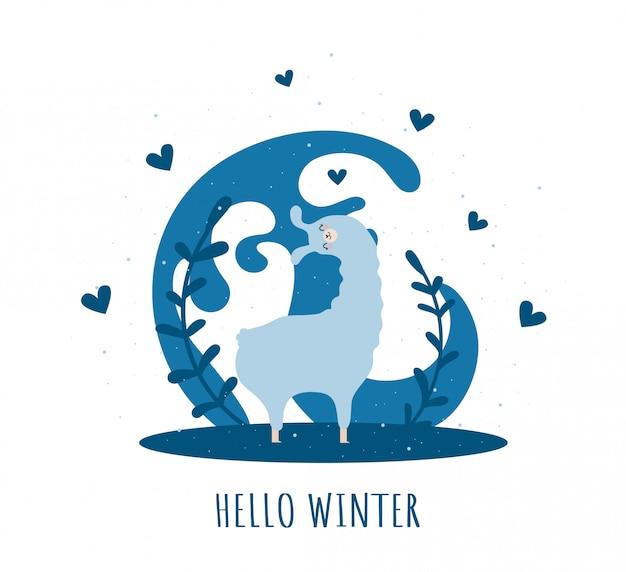 Llama con corazones y muchos detalles. alpaca graciosa hola invierno.