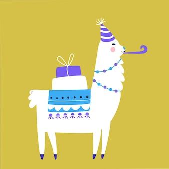 Llama de cumpleaños con cajas de regalo y gorro de fiesta. ilustración de vector de linda alpaca divertida.