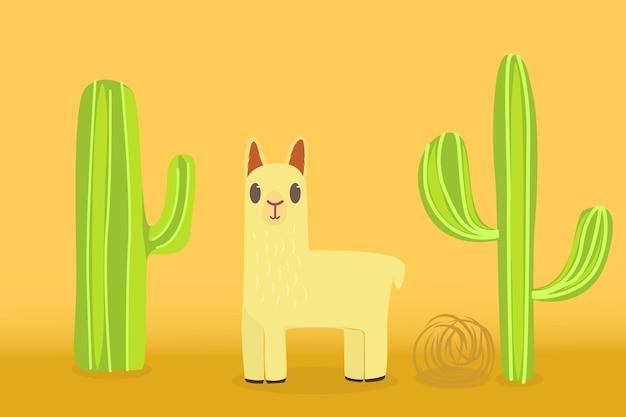 Llama en el desierto con un fondo de cactus y plantas rodantes.