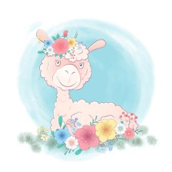 Llama de dibujos animados lindo en una corona de flores