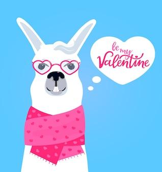 Llama divertida en una bufanda con corazones. sé mi inscripción dibujada a mano de san valentín.